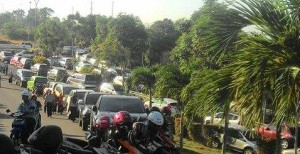 Foto: Jalan menuju kantor walikota tanjungpinang macet 22/07/15
