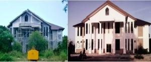 Gedung Perpustakaan Daerah Natuna terbengkalai Sebelum dilanjutkan pengerjaannya (kiri), gedung Perpustakaan Daerah sekarang (kanan)