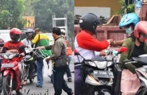 Bentuk peduli antar sesama, anggota LPKSM dan media membagikan Masker di simpang lampu merah batu 6 Tanjungpinang, Rabu (30/09).
