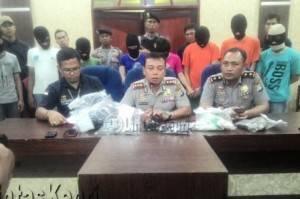 Kapolres Tanjungpinang AKBP Kritian P Siagian Tengah Ketka Menggelar Jumpa Pers di Rupa Tama Polres Tanjungpinang.