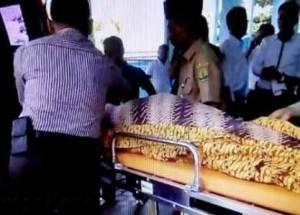 Inilah mayat laki-laki bernama Endang Sodarjo yang ditemukan di Kantor Dewan Pimpinan Cabang (DPC) Partai Gerakan Indonesia Raya (Gerindra), Senin (29/2) pagi