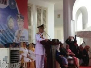 Gubernur Kepri Terpilih, HM.Sani saat Menyampaikan Pidato Sambutan