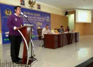 Bupati Bintan, Apri Sujadi saat menyampaikan kata sambutan pembukaan Sosialisasi E-Filling SPT Tahunan Pajak PPh orang pribadi tahun 2015
