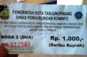 Inilah Karcis Tarif Parkir yang Diberlakukan Pemko Tanjungpinang