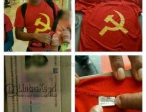 Warga Negara Asing (WNA) asal Singapura, AZ Bin K (29) dicurigai diduga menganut paham komunis karena memakai kaos berlogo partai PKI di Batam, Sabtu (30/4).
