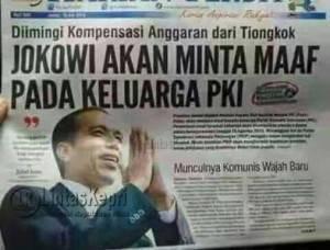 Surat kabar Ibukota yang memberitakan Presiden Jokowi akan meminta maaf kepada keluarga eks Partai Komunis Indonesia (PKI).