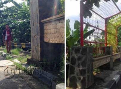 Bangunan taman permanen diatas trotoar Jl Dipegoro dan di Jl Ketapang, hasil karya Dinas Kebersihan, Pertamanan dan Pemakaman Kota Tanjungpinang yang melanggar UU LLAJ.