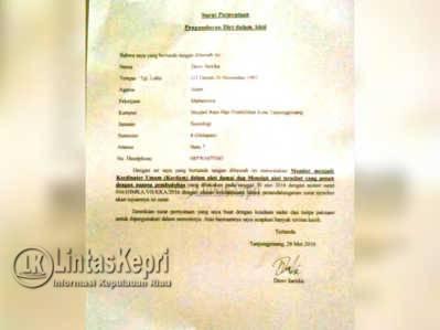 Inilah surat Pengunduran Diri sebagai Kordinator Umum aksi Unras HIMKKA, Dewi Sartika