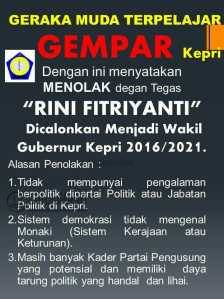 Inilah Petisi Gempar menolak Rini Fitriyanti sebagai Bakal Calon Wakil Gubernur Kepri
