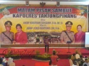 Walikota Tanjungpinang, Lis Darmansyah saat pidato sambutan malam pisah sambut Kapolres Tanjungpinang, di Hotel BBR, Jumat (12/8)