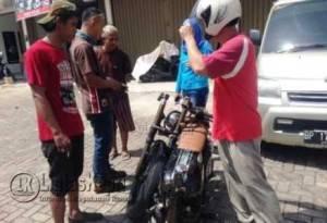 Beginilah kondisi sepeda motor yang dikendarai M. Zuhri usai menghantam Truck di bundaran Km 7 Tanjungpinang