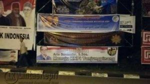 Spanduk salah satu calon Ketua KNPI Kota Tanjungpinang yang terpajang di Jalan Ibukota Provinsi Kepri, Tanjungpinang.