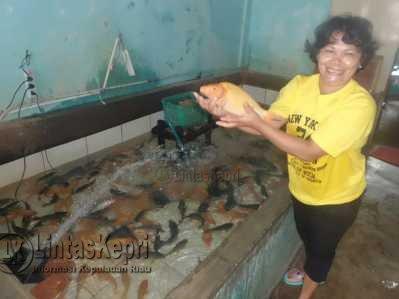 Ibu Viomas menunjukan Ikan Mas dagangannya